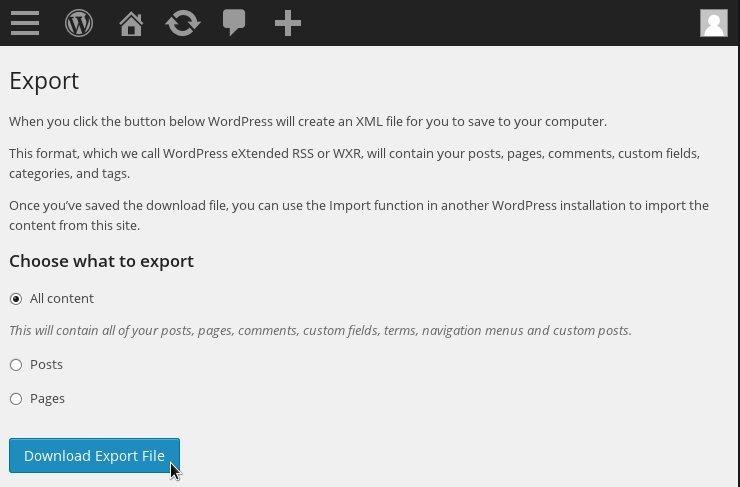 WordPress Download Export File