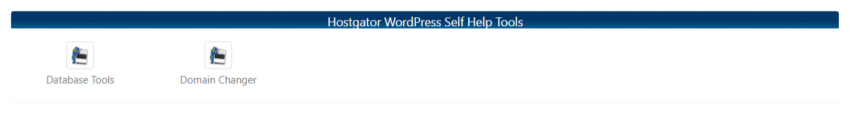 WordPress Tools Section with Database Tools and Domain Changer icons